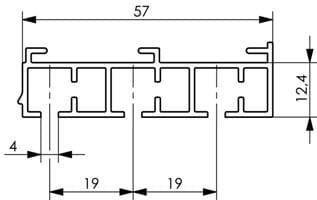 Wymiary szyny sufitowej trzytorowej białej