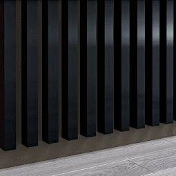 Panel dekoracyjny - Lamele - Czarny wysoki połysk