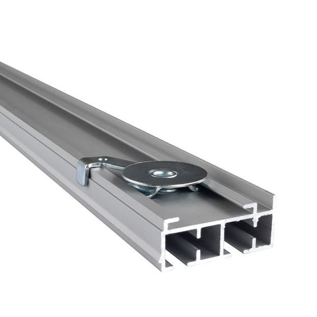 Szyna Sufitowa Aluminiowa 2-torowa - Chrom-mat z uchwytem montażowym