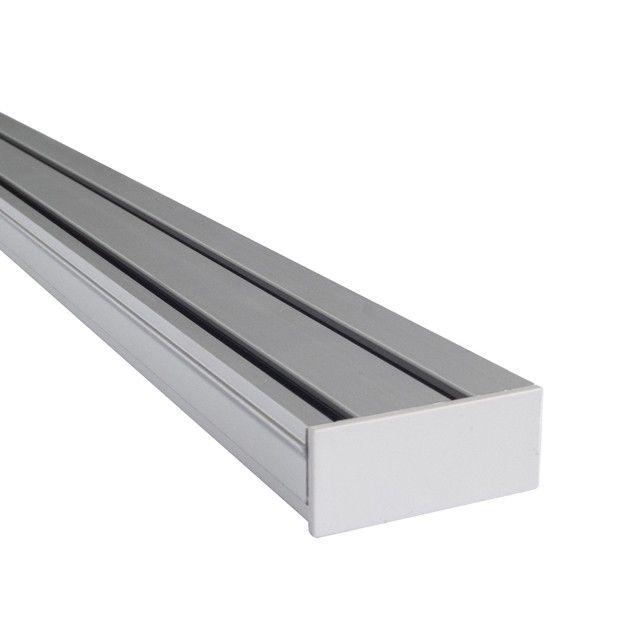 Szyna Sufitowa Aluminiowa 2-torowa - Chrom-mat z zaślepką