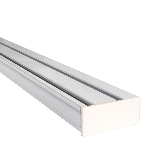 Szyna Sufitowa Aluminiowa 2-Torowa Biała z Zaślepką