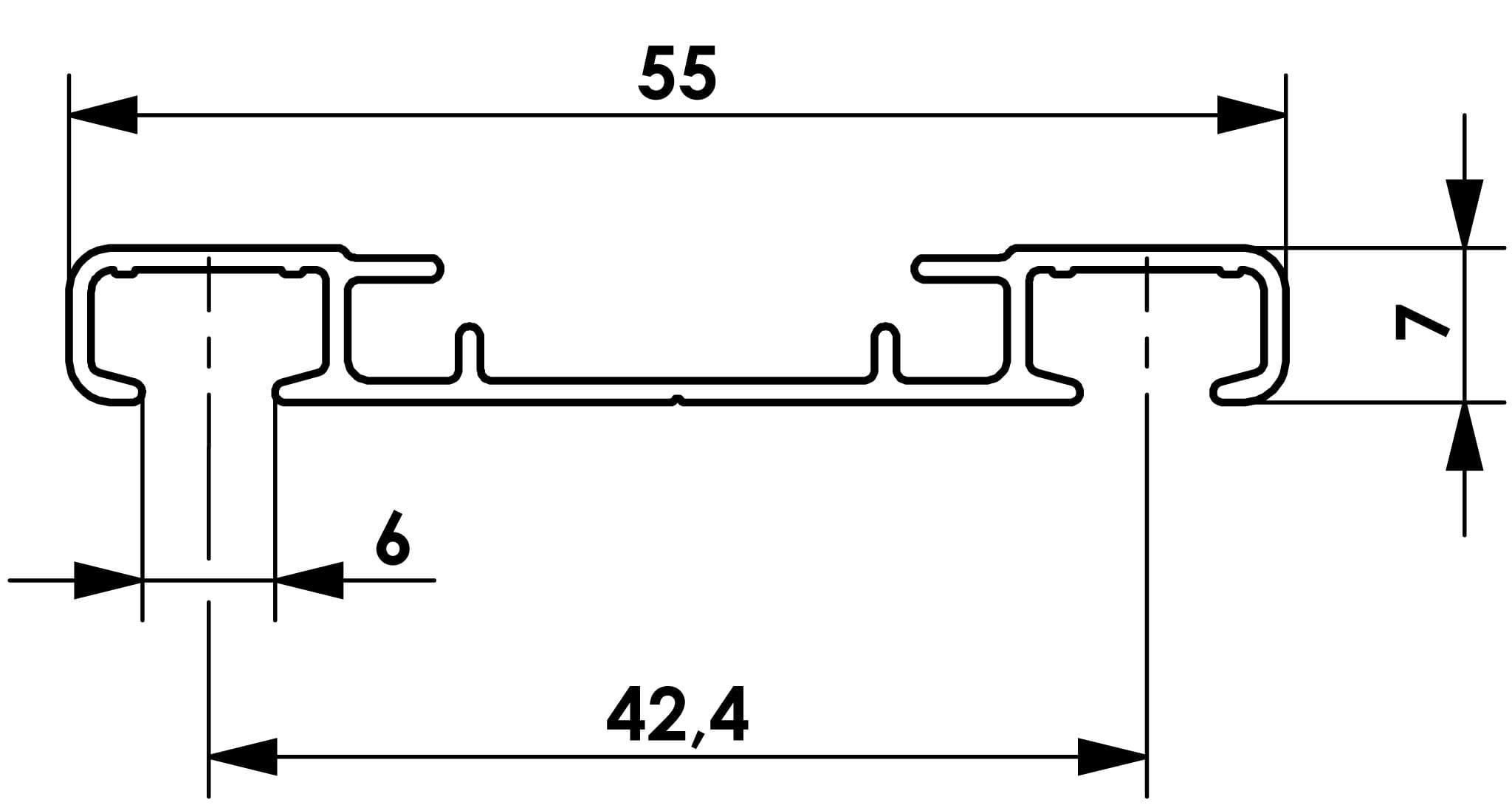 Przekrój szyny sufitowej dwutorowej