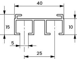 Przekrój szyna sufitowa cichy przesuw 2-torowa