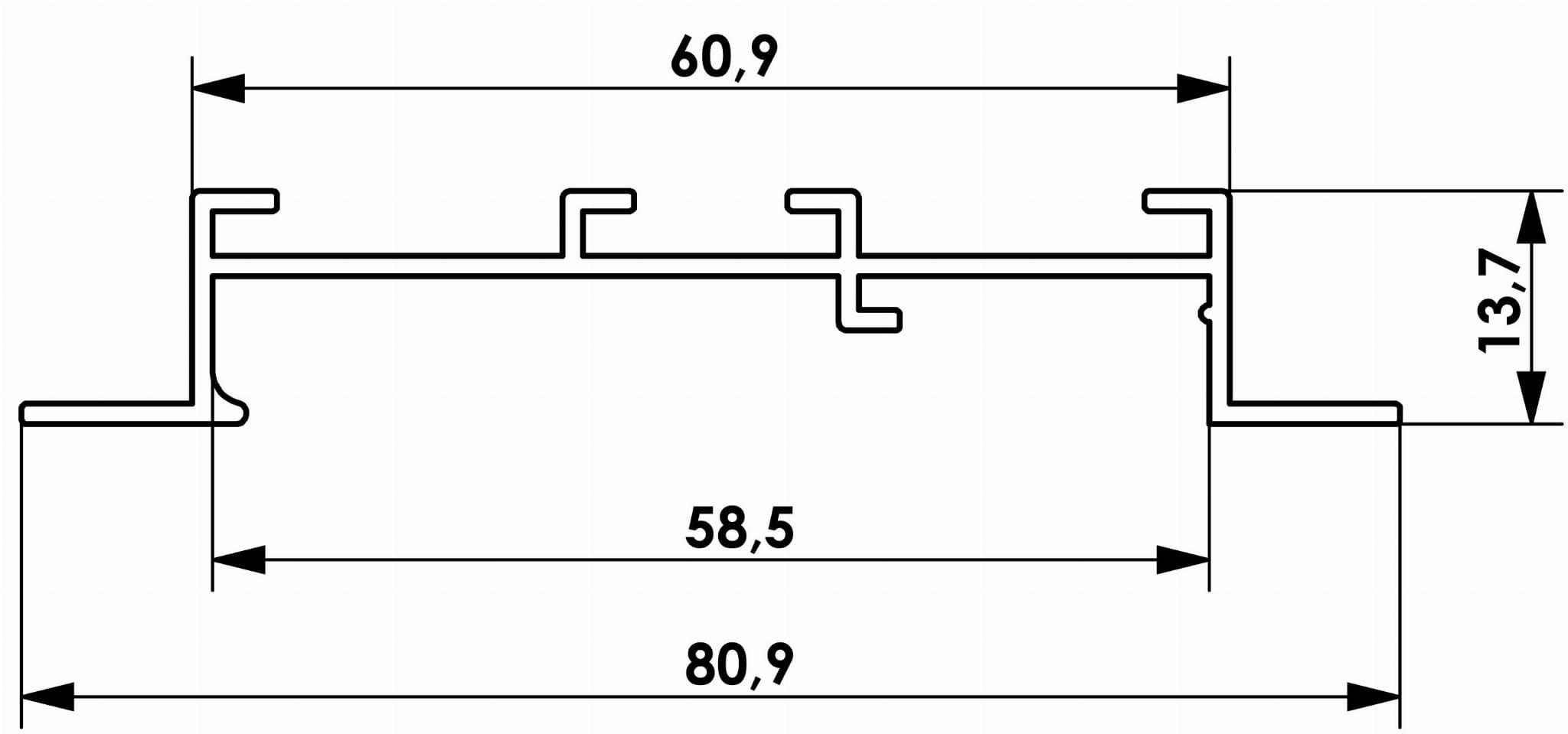 Przekrój rynienki dla szyny sufitowej dwutorowej