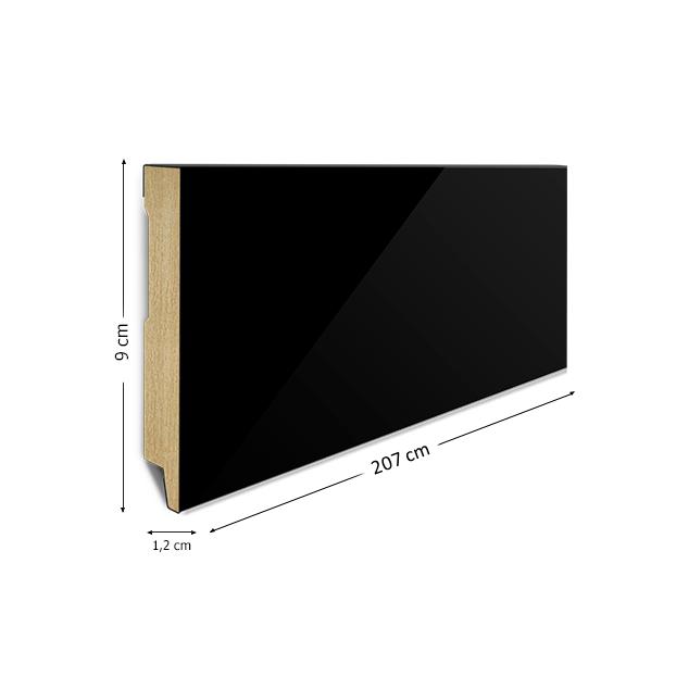 90/12 mm - Listwa Przypodłogowa Czarna Wysoki Połysk MDF - Standard 2