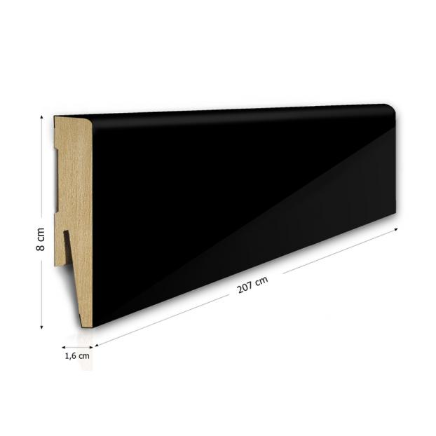 80/16 mm - Listwa Przypodłogowa Czarna Wysoki Połysk MDF - Standard 2