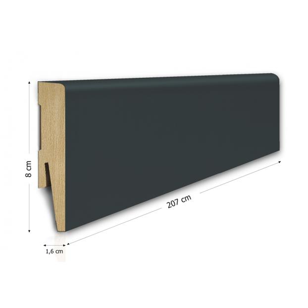80/16 mm - Listwa Przypodłogowa Antracyt MDF - Standard 2