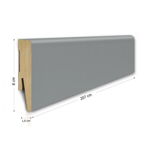 80/16 mm - Listwa Przypodłogowa Szara MDF - Standard 2